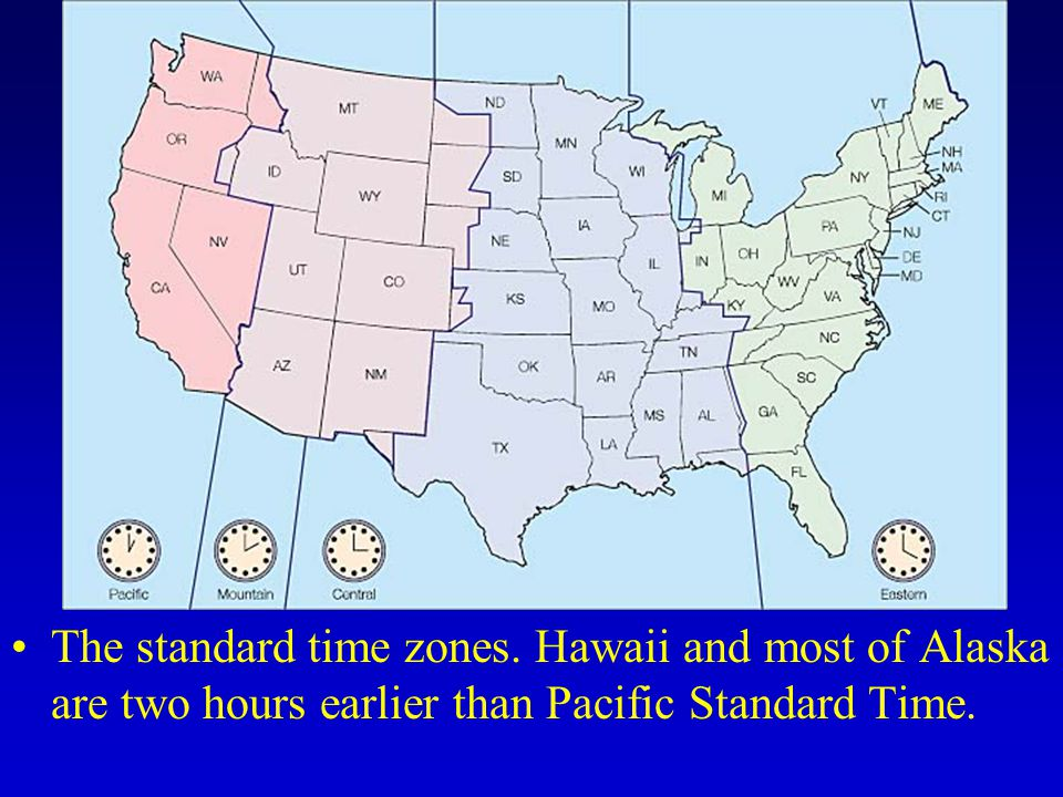 The standard time zones