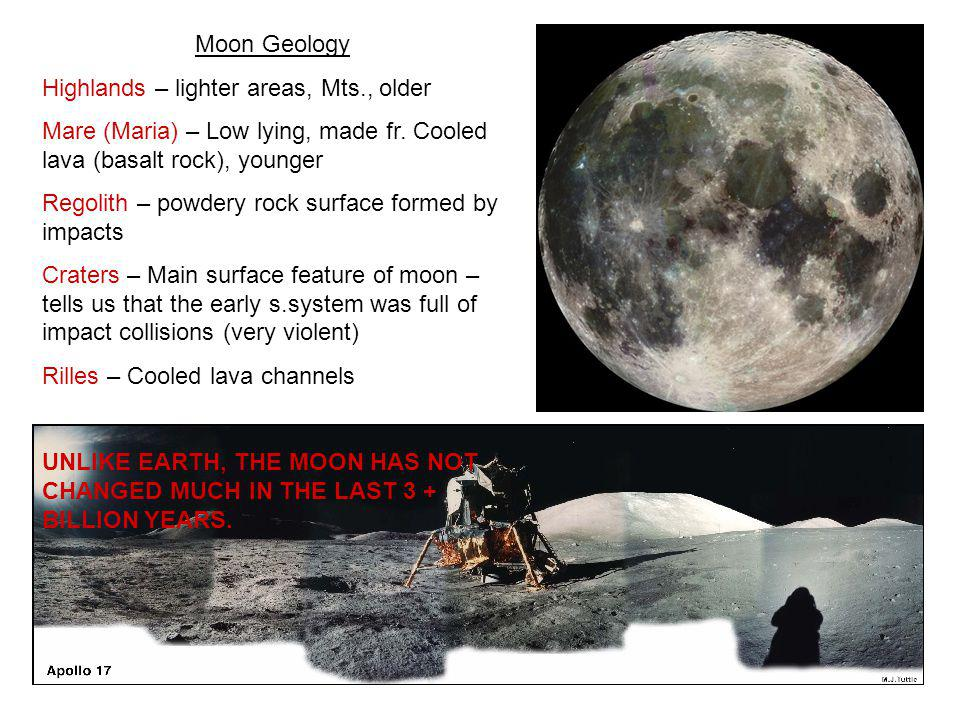 Moon Geology Highlands – lighter areas, Mts., older. Mare (Maria) – Low lying, made fr. Cooled lava (basalt rock), younger.