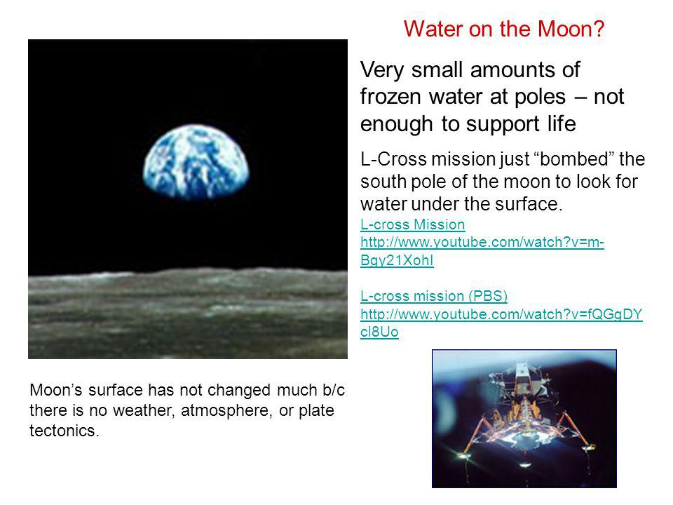 Water on the Moon Very small amounts of frozen water at poles – not enough to support life.