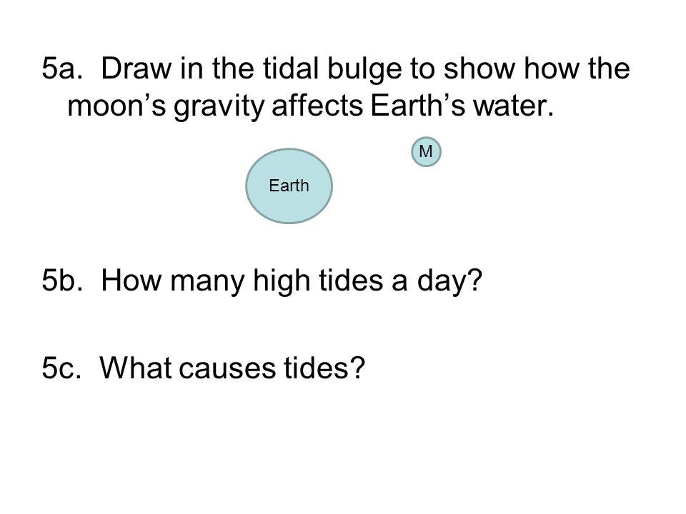 5a. Draw in the tidal bulge to show how the moon's gravity affects Earth's water. 5b. How many high tides a day 5c. What causes tides