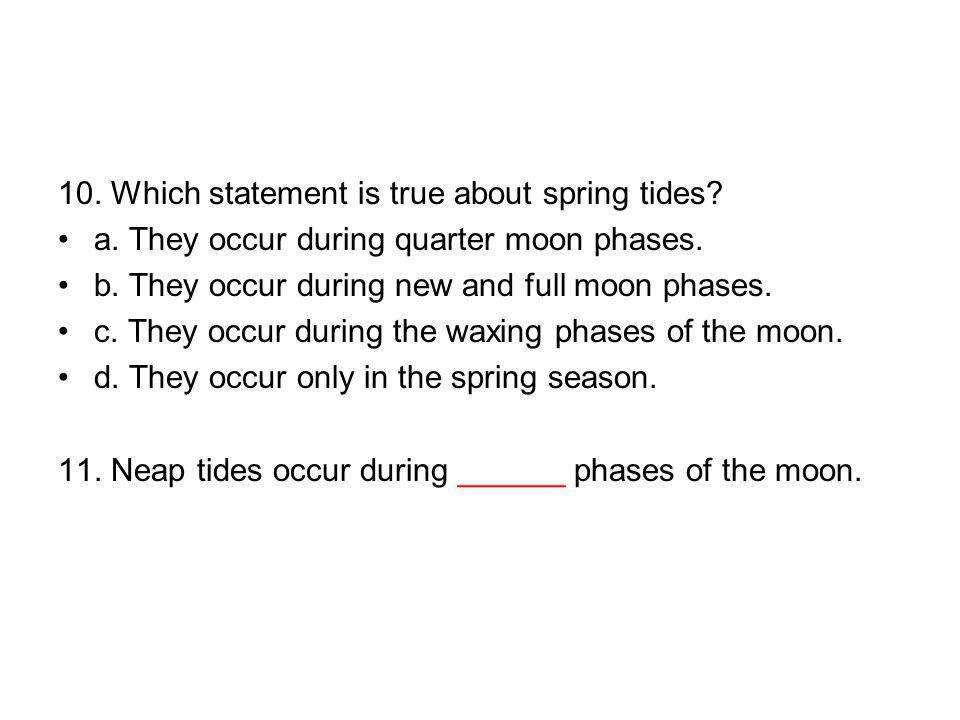 10. Which statement is true about spring tides