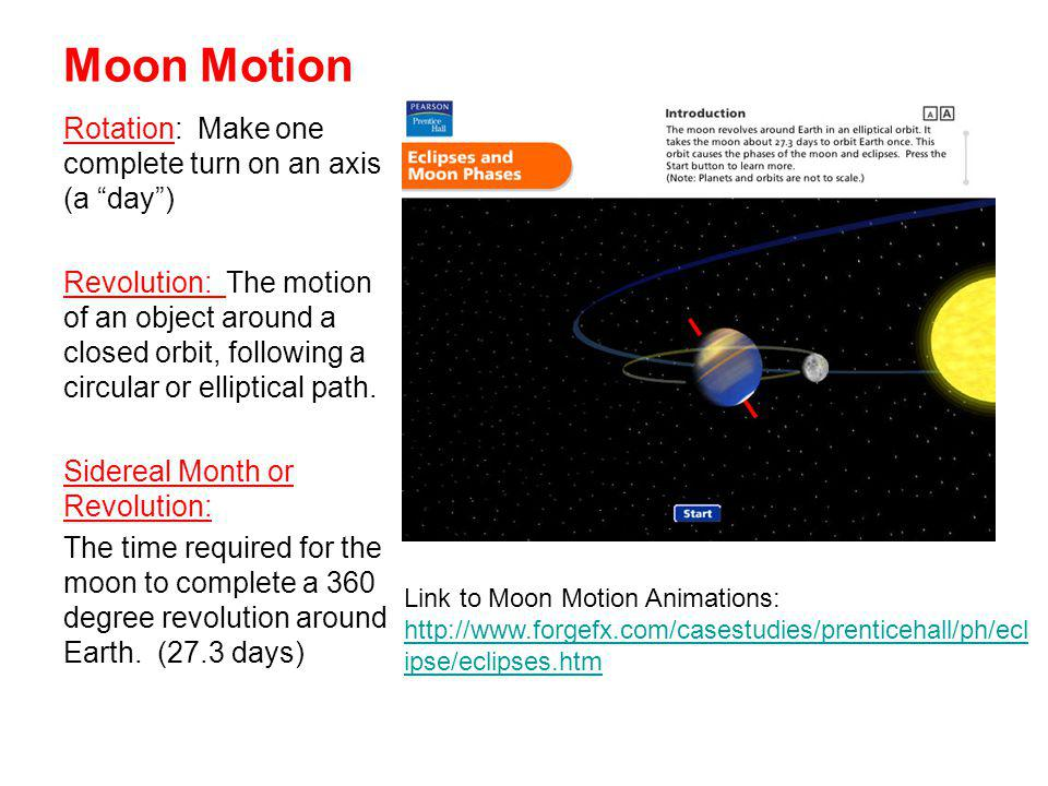 Moon Motion Rotation: Make one complete turn on an axis (a day )