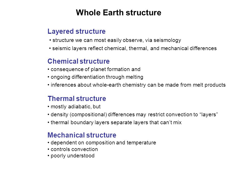 Whole Earth structure Layered structure Chemical structure