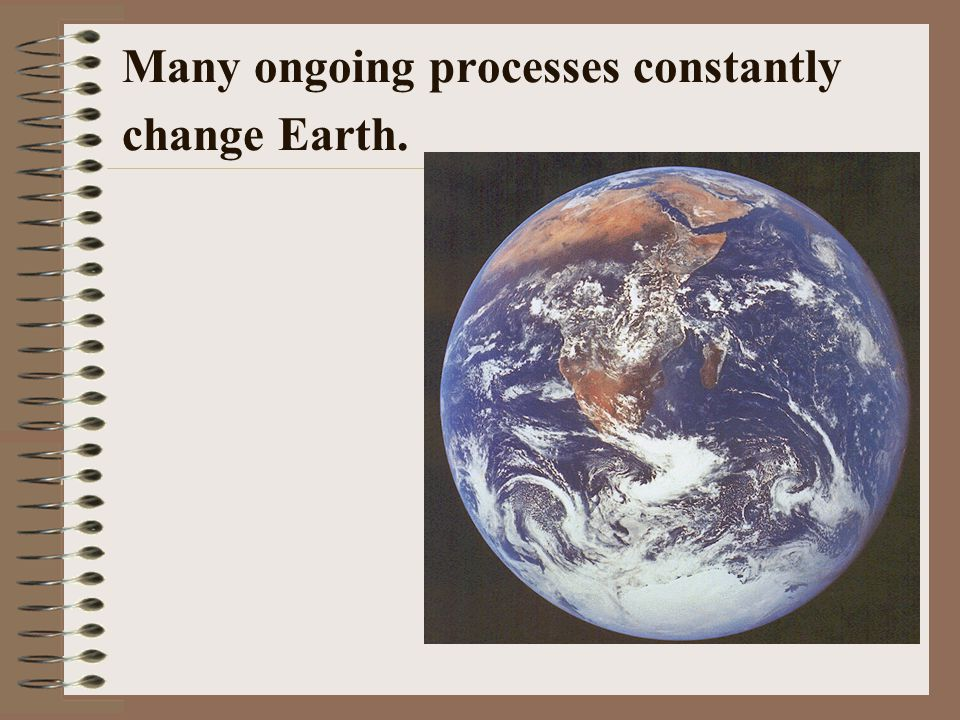 Many ongoing processes constantly change Earth.