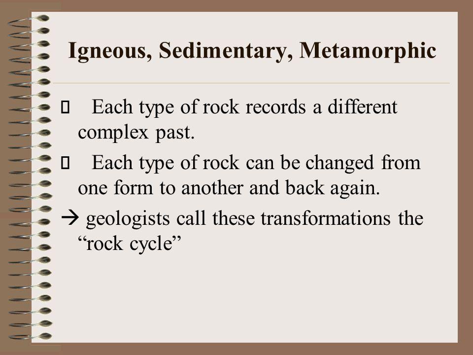 Igneous, Sedimentary, Metamorphic