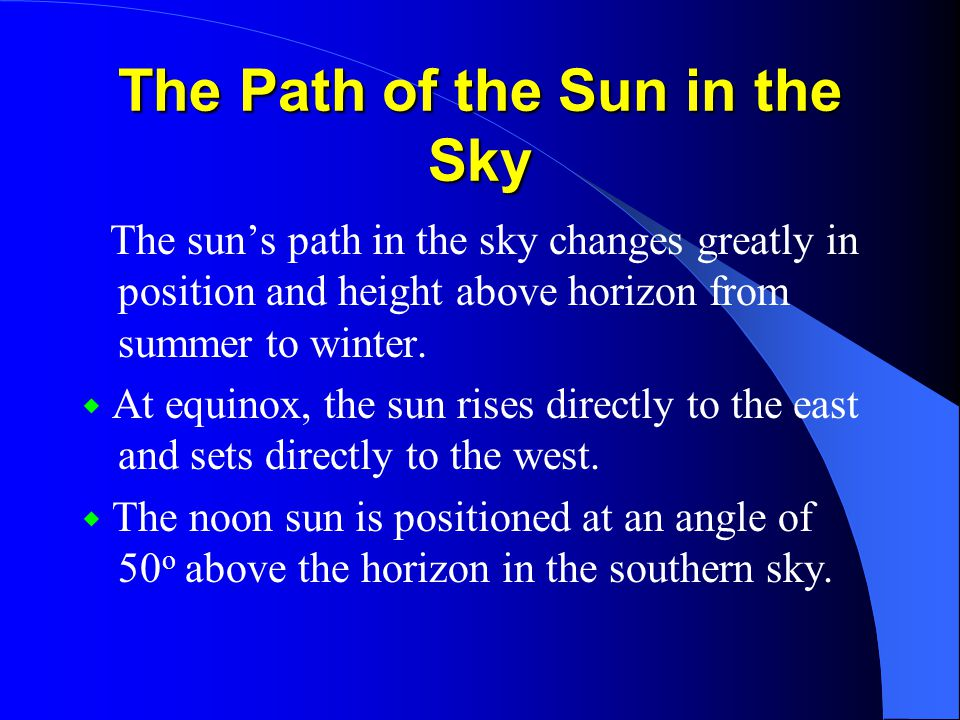 The Path of the Sun in the Sky