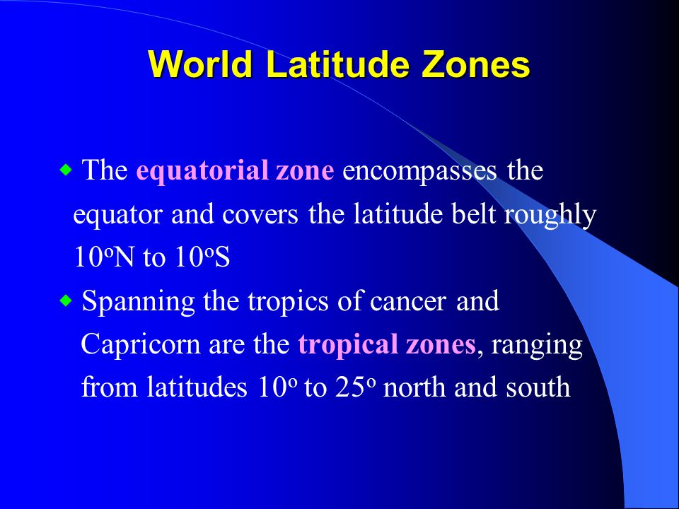 World Latitude Zones equator and covers the latitude belt roughly
