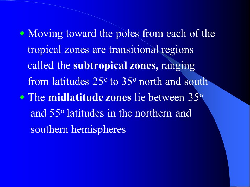 tropical zones are transitional regions
