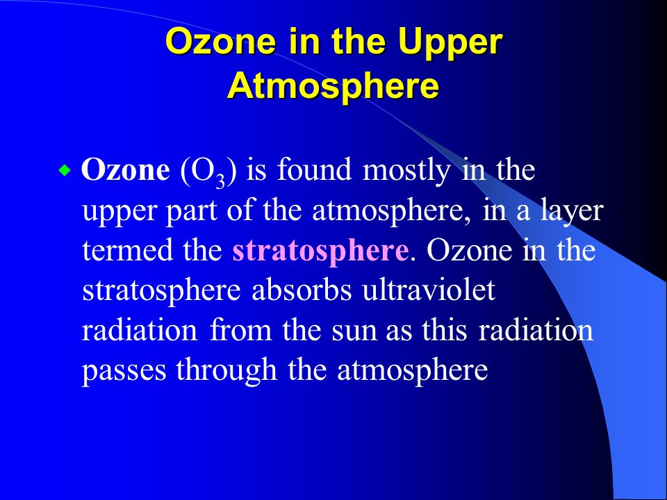 Ozone in the Upper Atmosphere