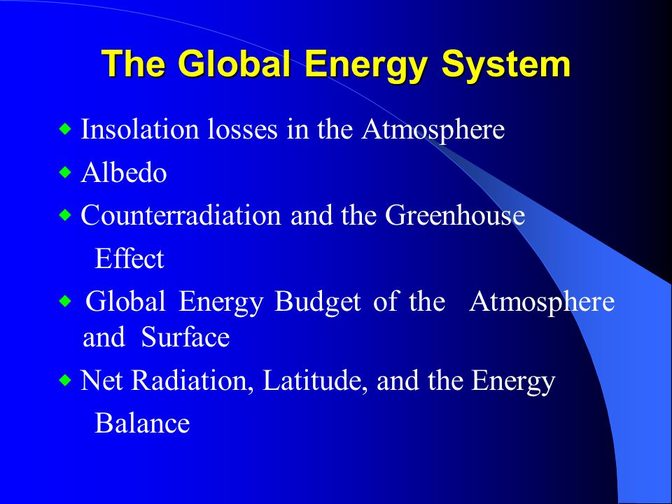 The Global Energy System