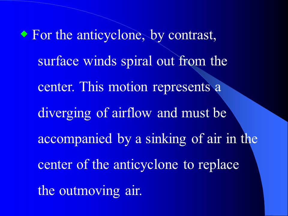 ◆ For the anticyclone, by contrast,