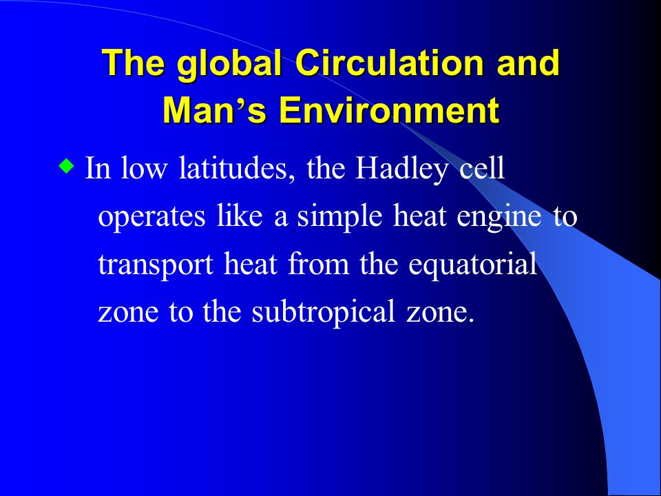The global Circulation and Man's Environment