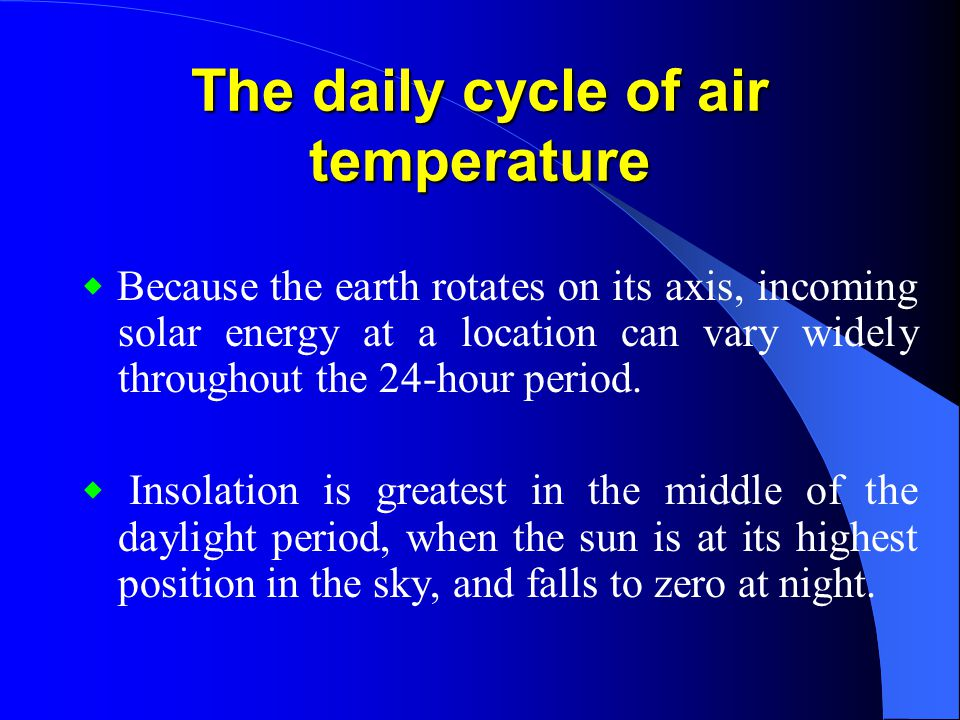The daily cycle of air temperature