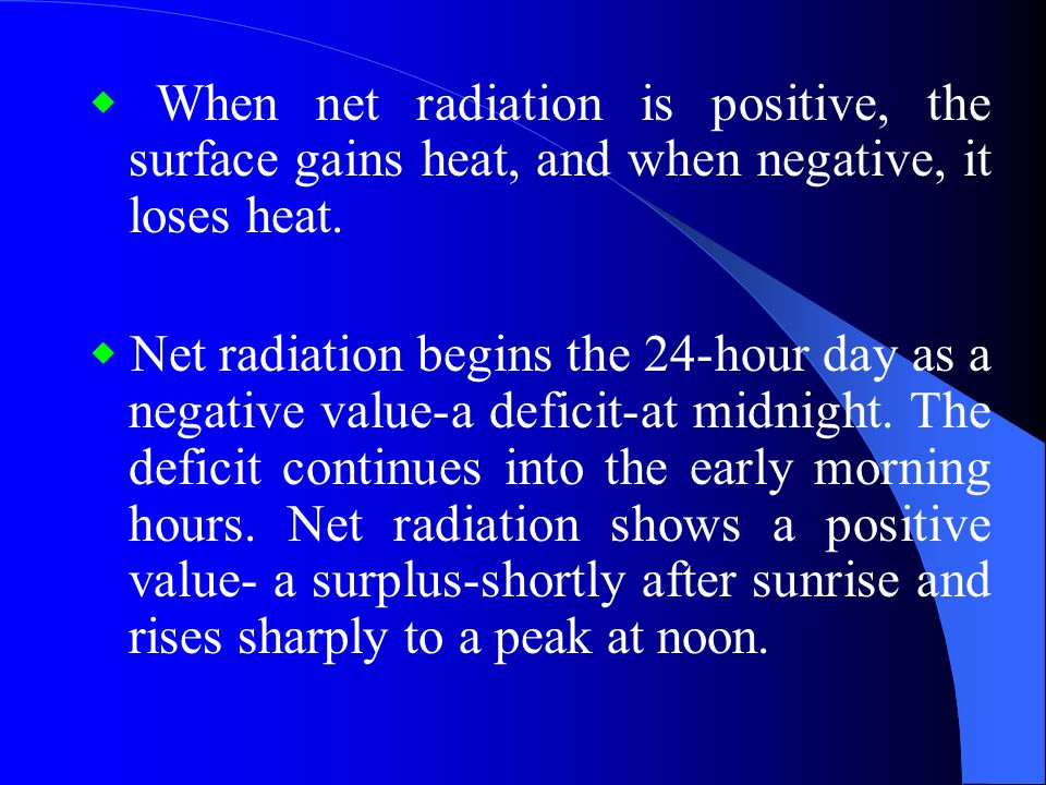 ◆ When net radiation is positive, the surface gains heat, and when negative, it loses heat.