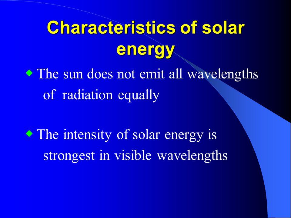 Characteristics of solar energy