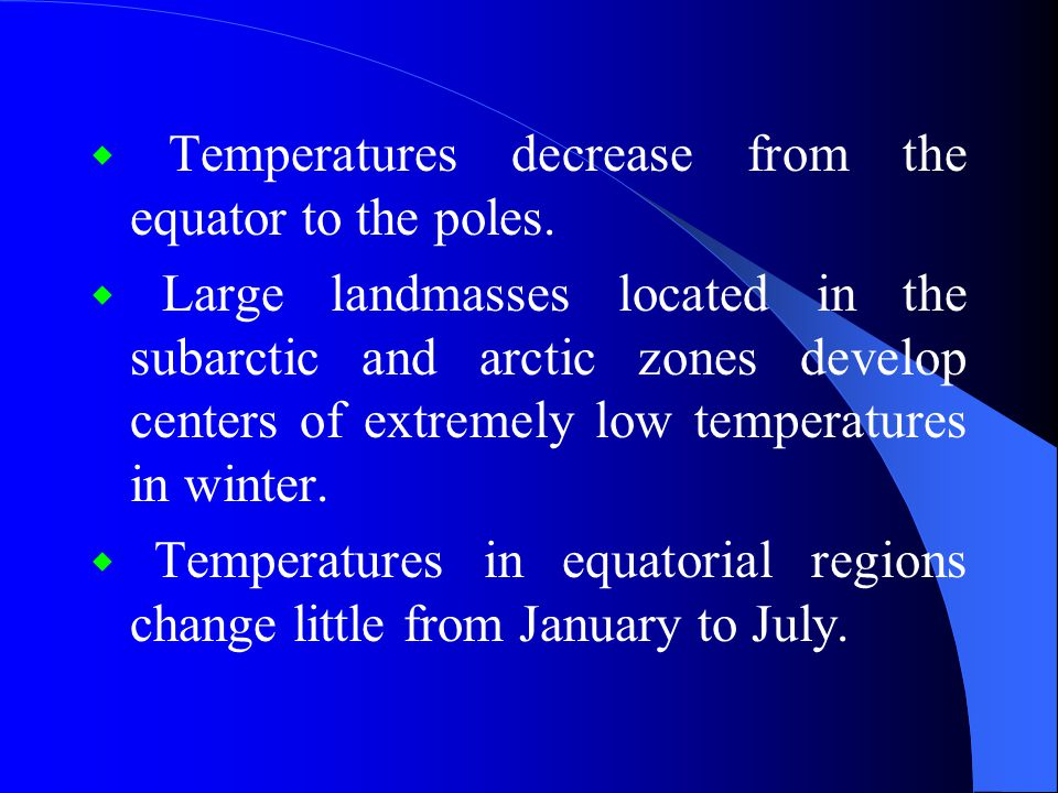 ◆ Temperatures decrease from the equator to the poles.