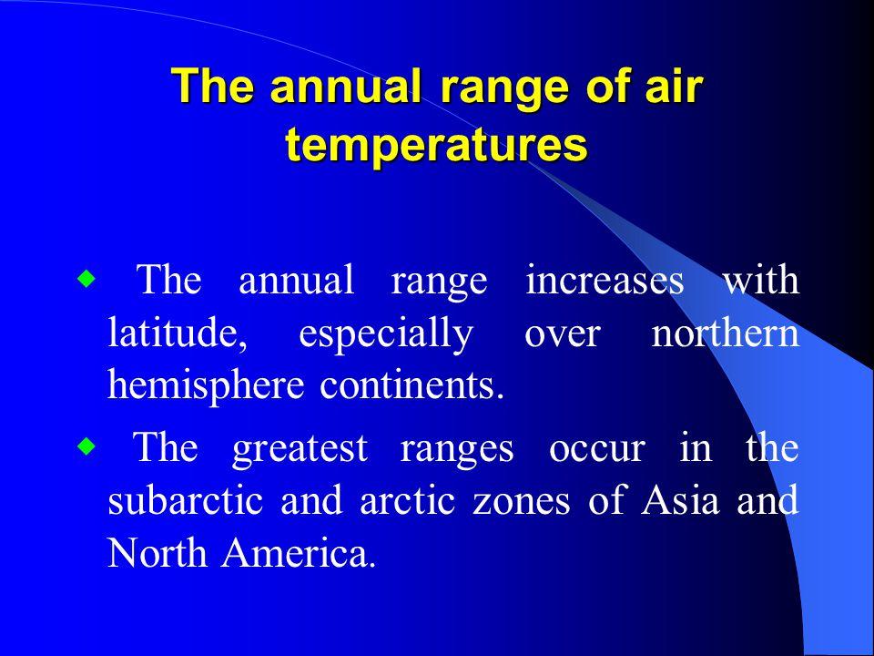 The annual range of air temperatures
