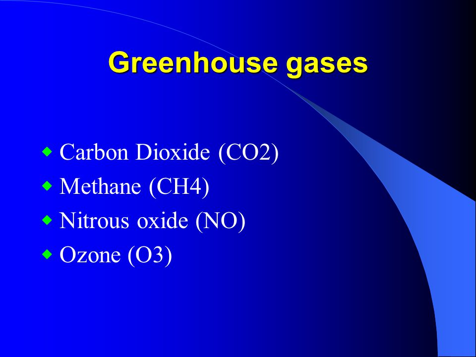 Greenhouse gases ◆ Carbon Dioxide (CO2) ◆ Methane (CH4)