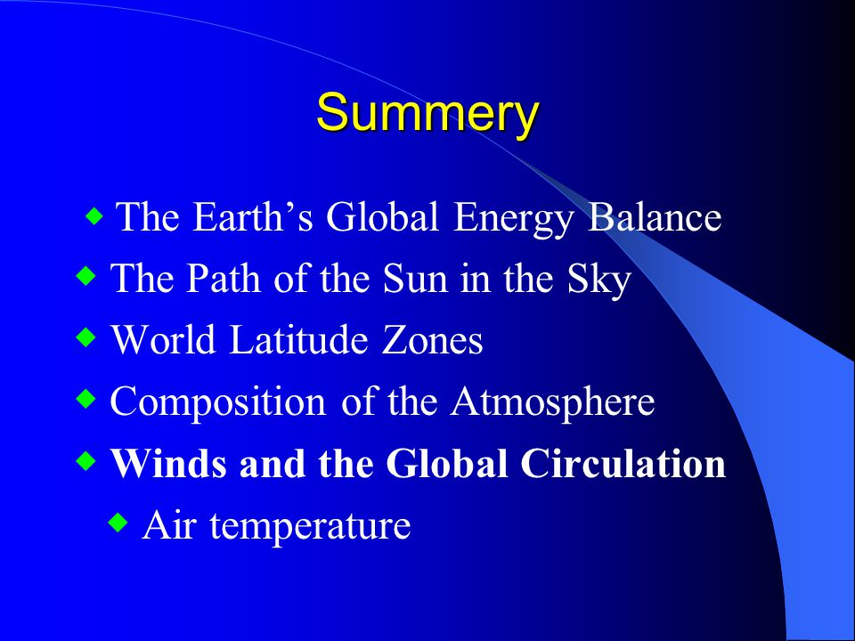 Summery ◆ The Path of the Sun in the Sky ◆ World Latitude Zones
