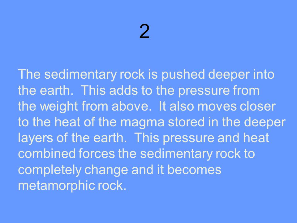2 The sedimentary rock is pushed deeper into