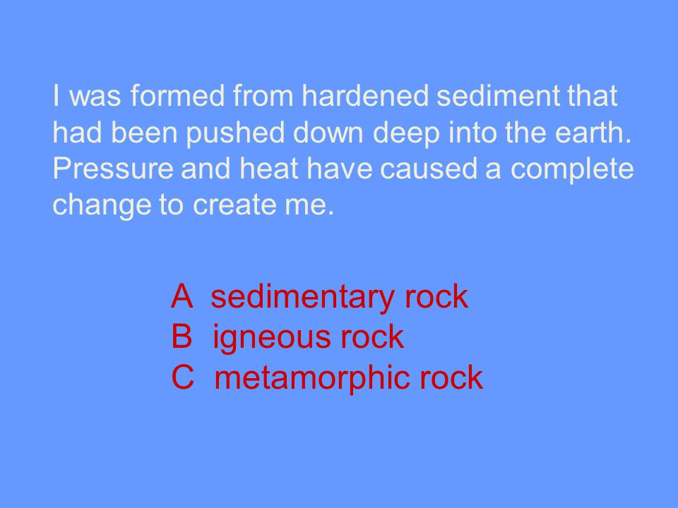 A sedimentary rock B igneous rock C metamorphic rock