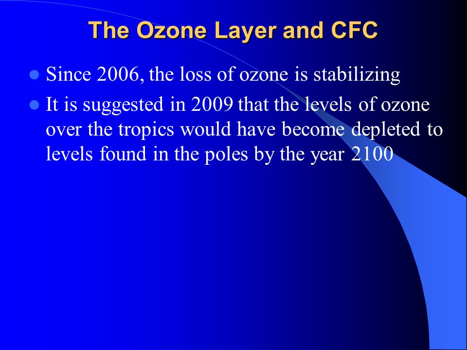 The Ozone Layer and CFC Since 2006, the loss of ozone is stabilizing