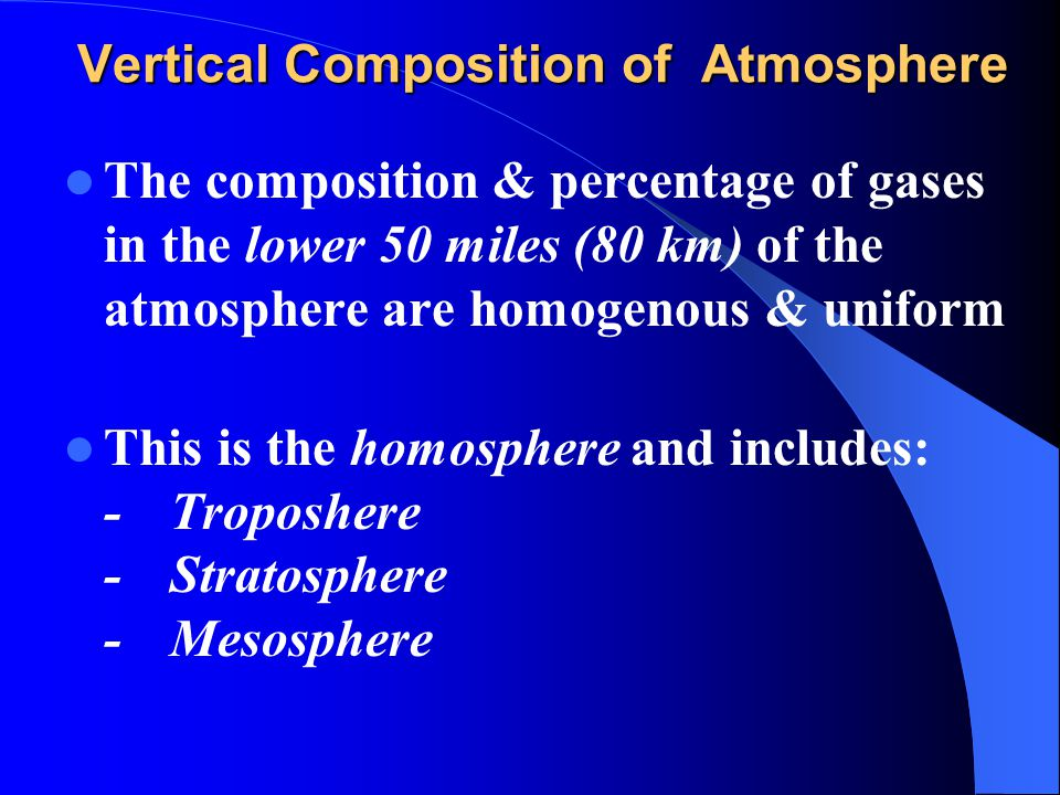 Vertical Composition of Atmosphere
