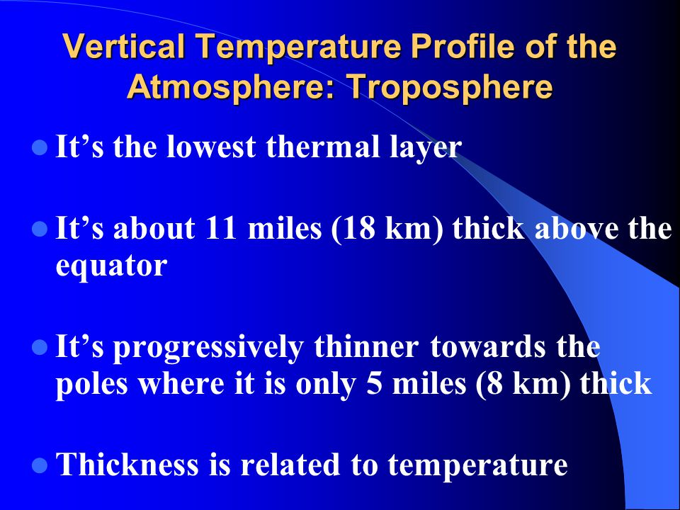 Vertical Temperature Profile of the Atmosphere: Troposphere