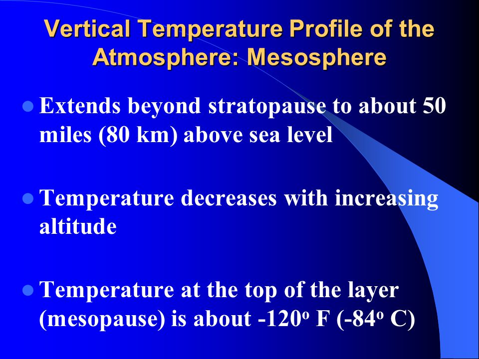 Vertical Temperature Profile of the Atmosphere: Mesosphere