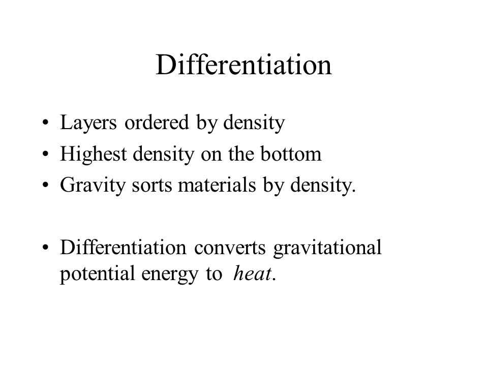 Differentiation Layers ordered by density