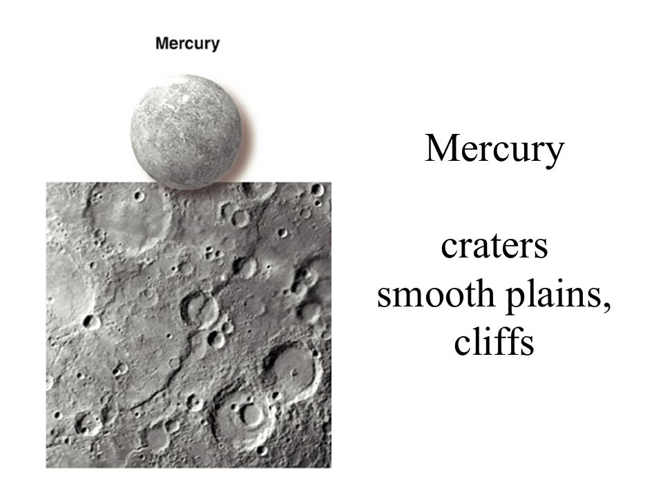 Mercury craters smooth plains, cliffs