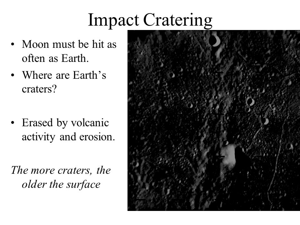 Impact Cratering Moon must be hit as often as Earth.