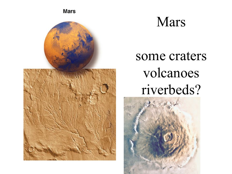 Mars some craters volcanoes riverbeds