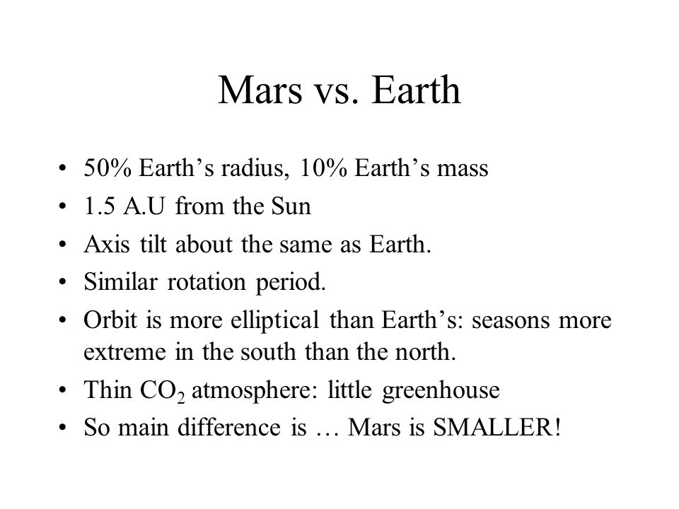 Mars vs. Earth 50% Earth's radius, 10% Earth's mass
