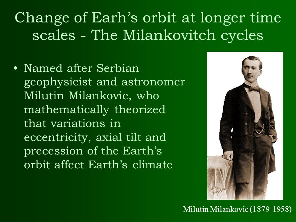 Change of Earh's orbit at longer time scales - The Milankovitch cycles