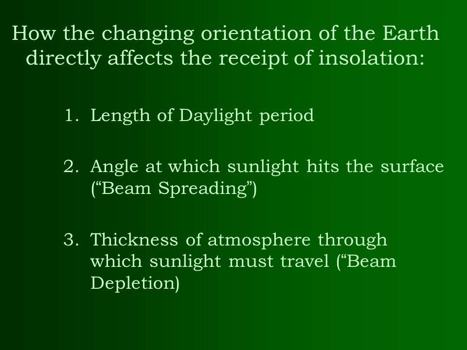 How the changing orientation of the Earth directly affects the receipt of insolation: