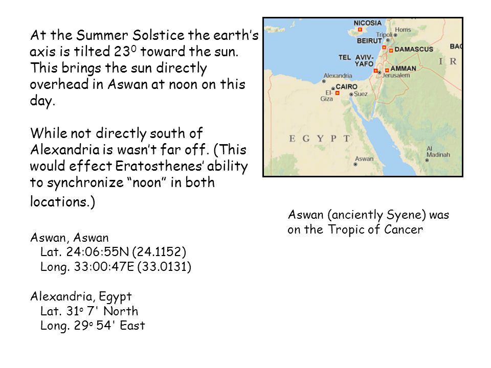 At the Summer Solstice the earth's axis is tilted 230 toward the sun