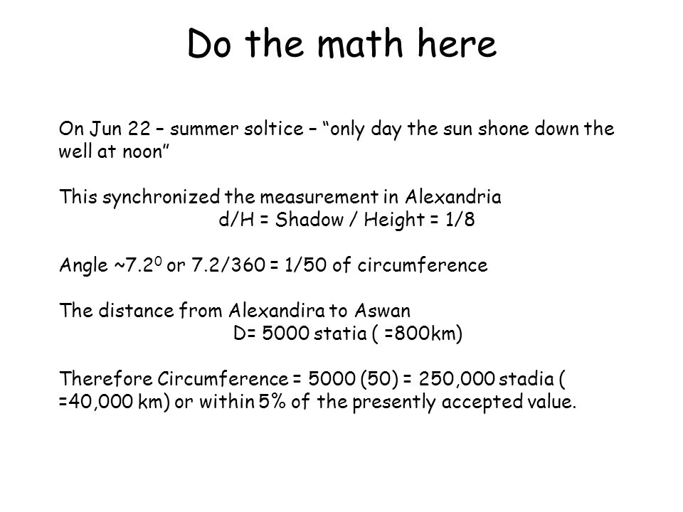 Do the math here On Jun 22 – summer soltice – only day the sun shone down the well at noon This synchronized the measurement in Alexandria.