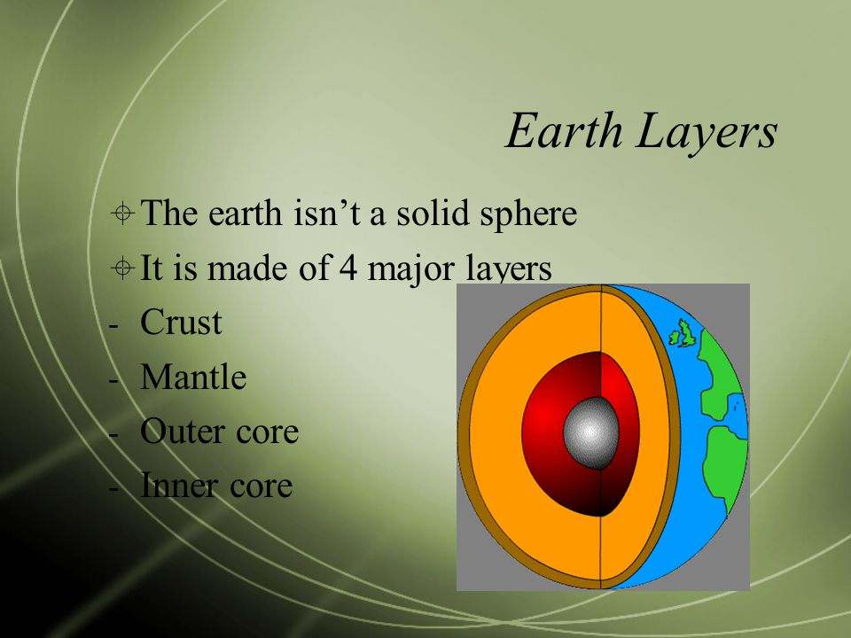 Earth Layers The earth isn't a solid sphere
