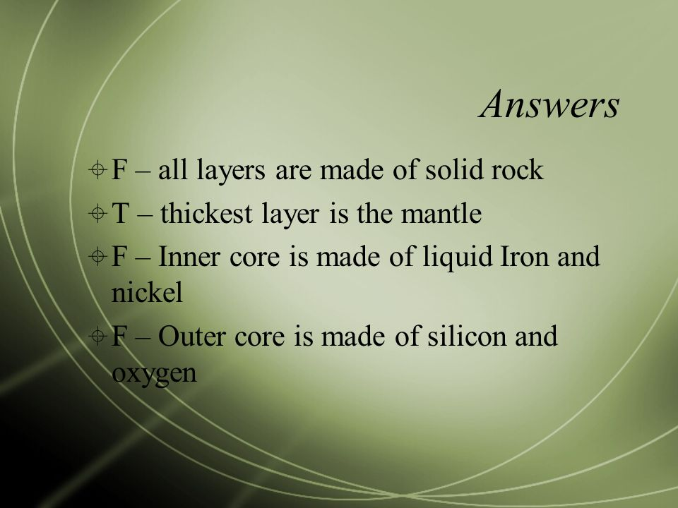 Answers F – all layers are made of solid rock