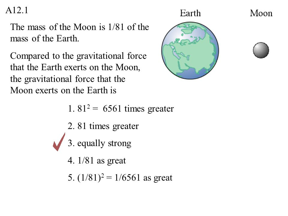 A12.1 The mass of the Moon is 1/81 of the mass of the Earth.