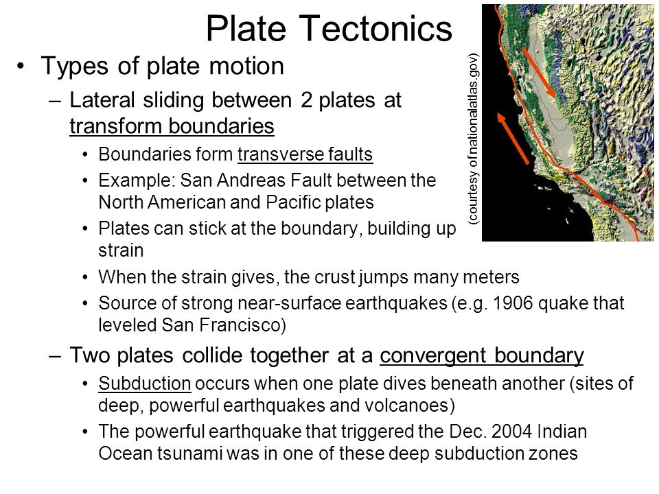 Plate Tectonics Types of plate motion