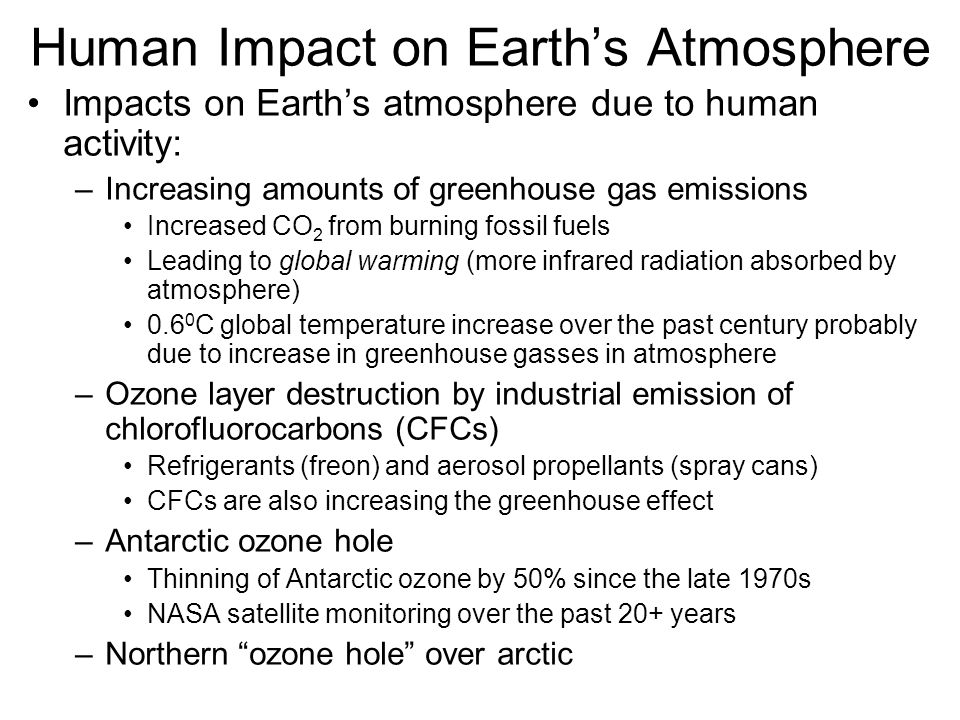 Human Impact on Earth's Atmosphere