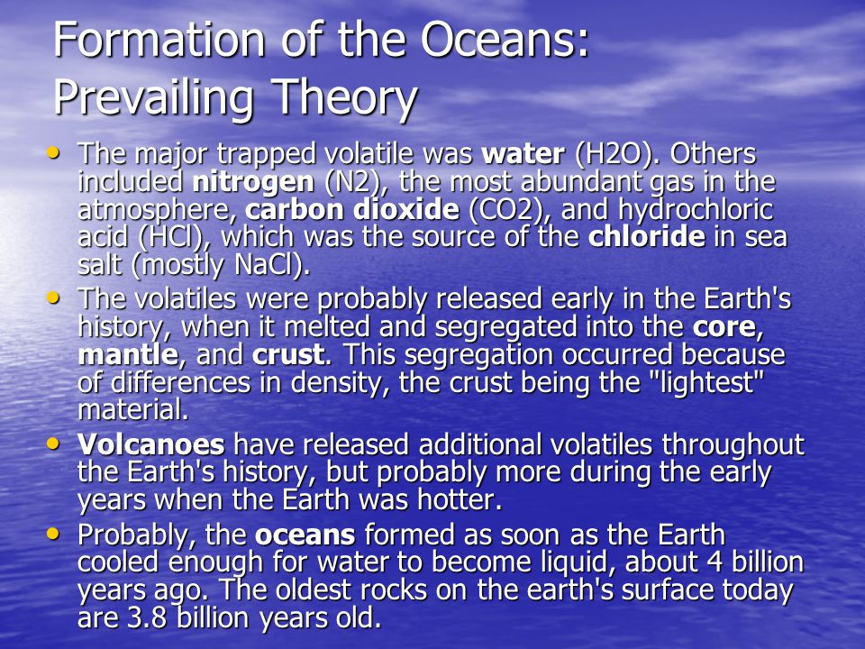 Formation of the Oceans: Prevailing Theory