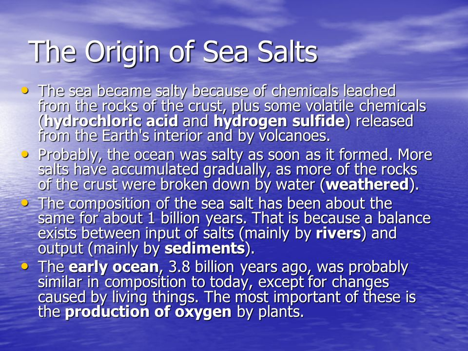 The Origin of Sea Salts