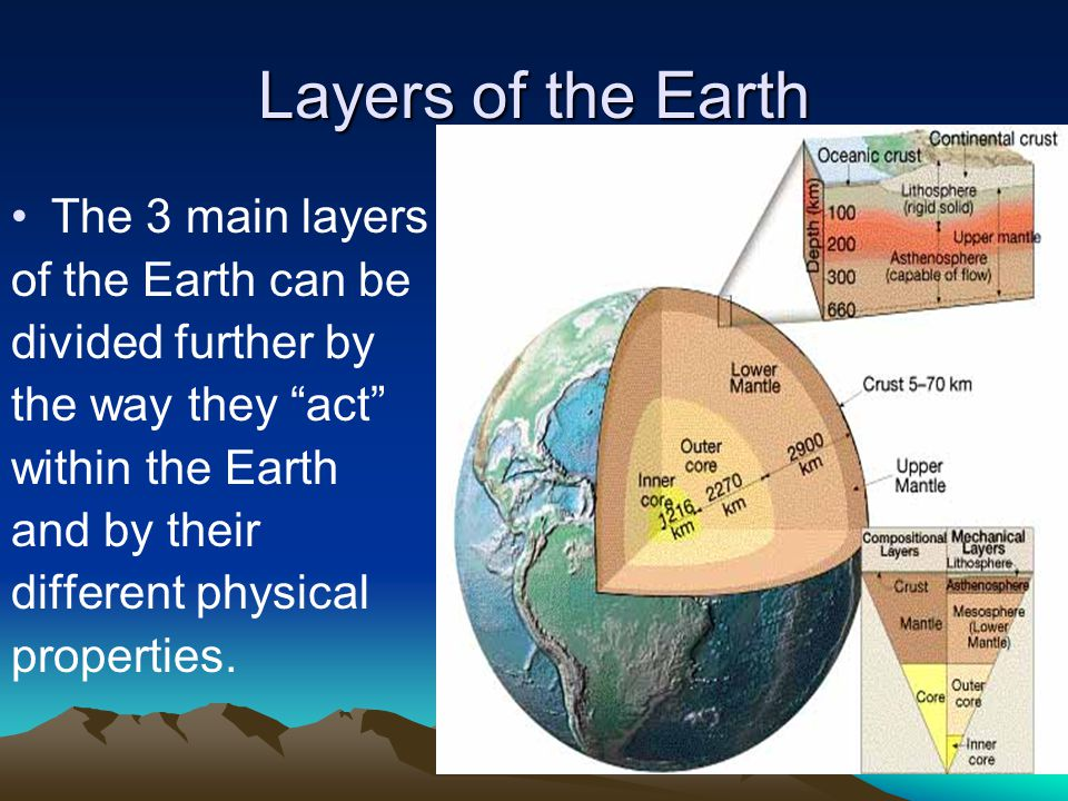 Layers of the Earth The 3 main layers of the Earth can be