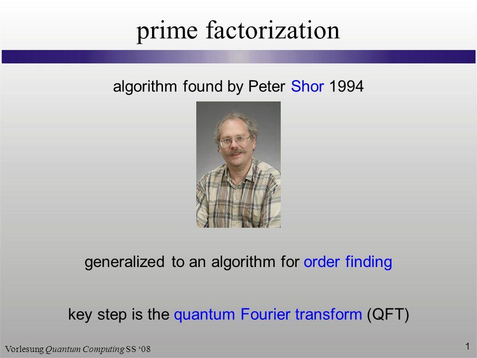 prime factorization algorithm found by Peter Shor 1994