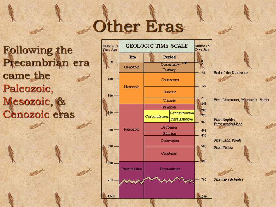 Other Eras Following the Precambrian era came the Paleozoic, Mesozoic, & Cenozoic eras