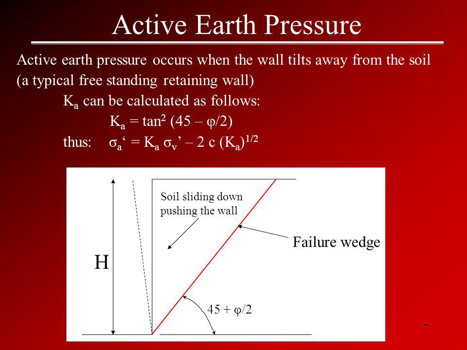 Active Earth Pressure H