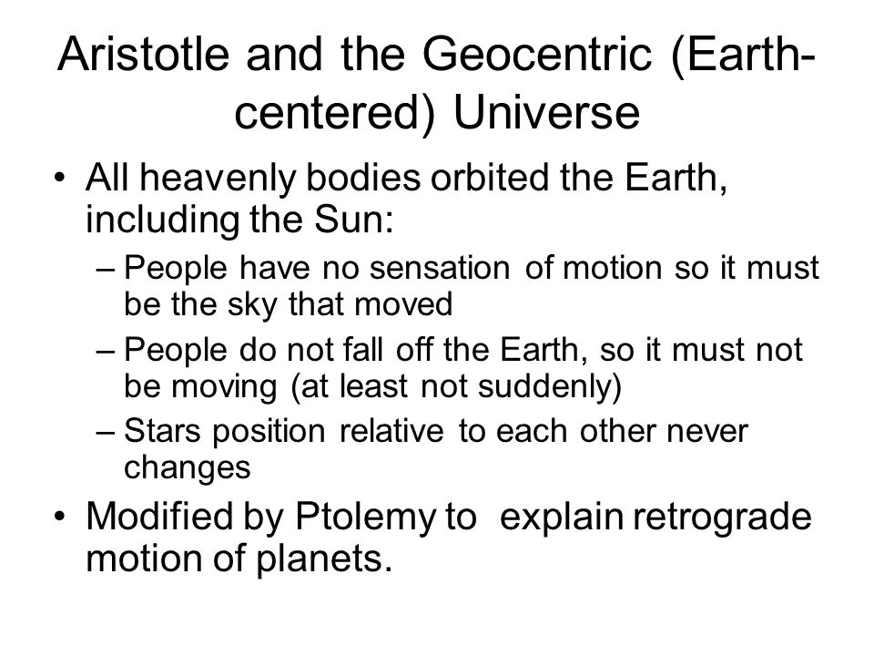 Aristotle and the Geocentric (Earth-centered) Universe